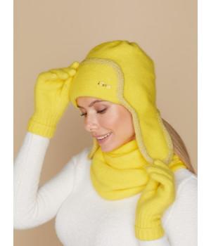 Вива шапка-ушанка трикотажная